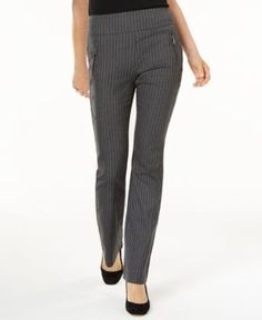 INC Curvy-Fit Pinstripe Bootcut Pants, Created for Macy's - Gray 14