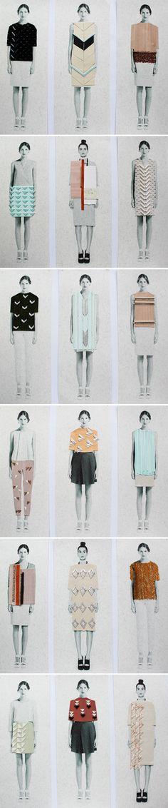 collaged fashion illustrations