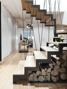 rangement sous escalier bois brut #design #interiors #space