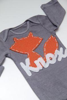 Custom Fox name onesie by PetalandTwigFelt on Etsy