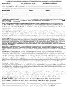 Wedding Photography Contract Forms Free