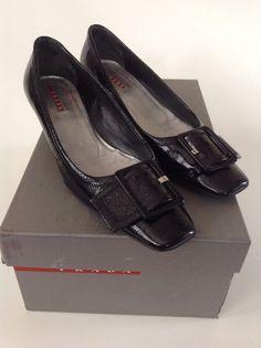 PRADA Black Patent Leather NAPLAK CHIC Heels Pumps Size 38 7.5 ITALY $360 *READ #PRADA #PumpsClassics