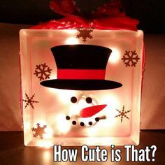 8x8 frosted glass block with lights. Snowman How Cute Is That?