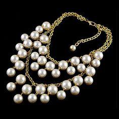 collar de perlas de varias capas de aleación tael (color aorted) – USD $ 6.99