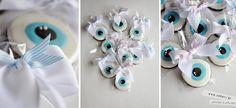 """Μπισκότα """"για το μάτι"""" και για καλή τύχη, κέρασμα για νεογέννητο, βάπτιση, εγκαίνια κλπ... Evil eye cookies, good luck cookies. Baby Cookies, Baby Shower Cookies, Iced Cookies, Royal Icing Decorated Cookies, Halloween Cookies, Evil Eye, Cookie Decorating, Diy And Crafts, Sweets"""