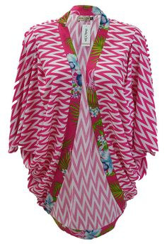 On trend style of wrap Jacket. This Cotton Candy jacket is a loose fit to wear over a cami and jeans(my favourite) or even a shift style dress. The Aria has pleats on both shoulders and centre back to allow for extra swing. The Jamaica trim really pops in contrast to the zig zag. This is a ONE SIZE Jacket fitting up to a size 18.