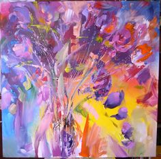 Freesia flowers- acrylic on canvas, 80/80 cm, 2018, Derecichei Simona Mihaela