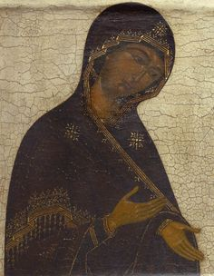 Detailed view: TT009. Virgin from a Deesis- exhibited at the Temple Gallery, specialists in Russian icons