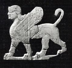 Plaque with a striding sphinx Date: ca. 8th century B.C. Geography: Mesopotamia, Nimrud (ancient Kalhu) Culture: Assyrian Medium: Shell The Metropolitan Museum of Art.