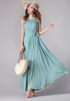 Green Plain Pleated Belt Sleeveless Bohemian Chiffon Maxi Dress - Maxi Dresses - Dresses