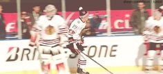 January 1, 2015: Jonathan Toews and Andrew Shaw getting hyped up during warmup