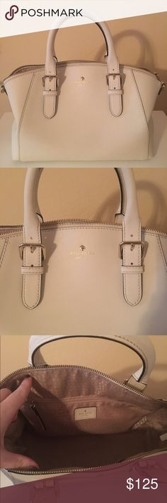 Kate Spade Purse Cream Beautiful Kate Spade Purse! Only used a handful of times in great condition. Some slight wear on the bottom in the inside from wallet keys etc, hardly noticeable. kate spade Bags Satchels