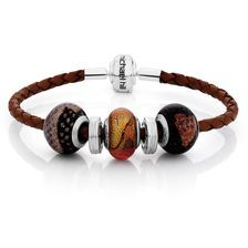 """Online Exclusive - Brown Leather, Glass & Sterling Silver 19cm (7.5"""") Charm Bracelet"""