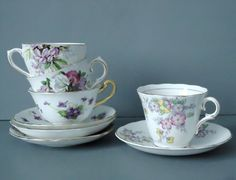 4 Vintage Tea Cups and Saucers Lot    $56.00