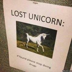 Lost Unicorn sign   you lost your unicorn  let me get down from my unicorn and help you look