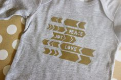 Peace Love and Joy Christmas Tee Holiday Infant by VanillaBeanBaby
