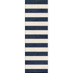 Handmade Flat Weave Stripe Pattern Blue Rug     #homedecor