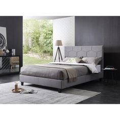 Hodedah Imports Upholstered Geometric Platform Bed, Size: Queen - HI516 Q GREY
