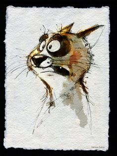 By Dainius Sukys Art And Illustration, Oil Pastel Paintings, Cartoon Sketches, Character Design Animation, Cute Creatures, Cat Drawing, Whimsical Art, Dog Art, Animal Drawings