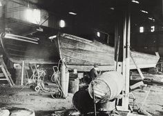 "Caption: "" Grand Union Canal Carrying Company narrowboats in Bulls Bridge dry dock""  BW192-3-1-13-5 #London #canal #Boat"