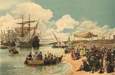 """""""A partida de Vasco da Gama para a Índia em 1497"""" - watercolourist  Alfredo Roque Gameiro"""