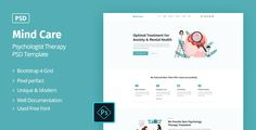 Buy Mind Care - Psychologist Therapy PSD Template by Jit_Banik on ThemeForest. Description: Mind Care is a clean, calm and thought PSD template for psychologist, psychotherapist or clinics. Anxiety Treatment, Grid System, Free Therapy, Business Flyer, Psd Templates, Creative Business, Clinic, Mindfulness, Photoshop