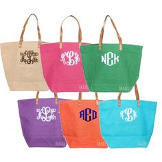 Marleylilly.com Monogrammed Large Jute Bag by marleylilly on Polyvore
