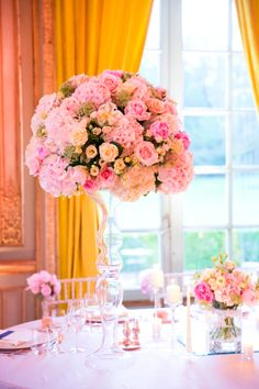 Pink Rose Topiary Arrangement | photography by http://oneandonlyparisphotography.com/ | floral design by http://www.fredericbertin.com/en | wedding planning by http://www.feteinfrance.com/