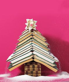 Love this holiday tree made from stacked books. You know, those things we used to read before Kindle.