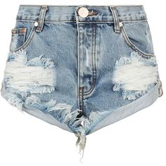 One Teaspoon Bandit Distressed Denim Shorts | Harrods ($130) ❤ liked on Polyvore featuring shorts, one teaspoon shorts, distressed denim shorts and one teaspoon