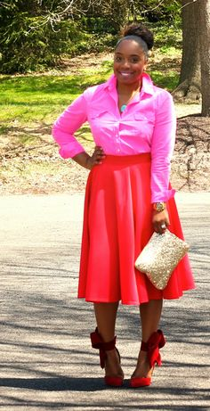 Style & Poise-Red Midi Skirt