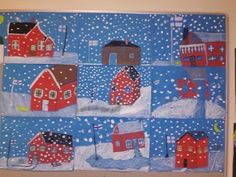 Perinteinen maisema ja Suomen lippu. Winter Art Projects, Easy Art Projects, Winter Crafts For Kids, 3rd Grade Art Lesson, 4th Grade Art, Art Activities For Kids, Art For Kids, New Year Art, Winter Painting