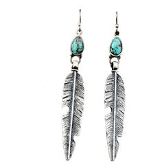 Turquoise And Silver Feather Dangle Earrings ($14) ❤ liked on Polyvore featuring jewelry, earrings, accessories, brincos, stylemoi, silver, turquoise jewelry, silver teardrop earrings, long silver earrings and teardrop earrings