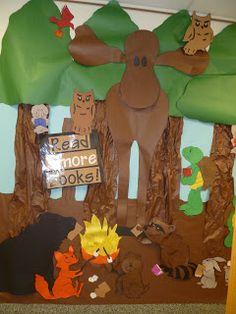 """Reading door decorations contest Reading door decorations contest More from my siteGive the nook a theme, like """"camping."""" Give the nook a theme, like """"camping."""" Give the nook a theme, like """"camping. Forest Classroom, Preschool Classroom, Classroom Themes, Camping Theme For Classroom, Outdoor Classroom, School Decorations, School Themes, Camping Decorations, School Ideas"""