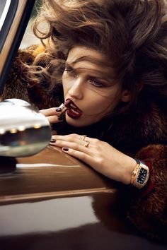 Love the idea of shooting a girl in a car at speed with hair flying! Kendra Spears by Lachlan Bailey for #Vogue #Paris November 2012. #fashion