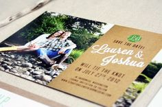 """Photo + Kraft Paper Save the Date. Send """"Save the Date"""" postcards with a prompt to send and confirm their email address (for an email invitation and RSVP)."""