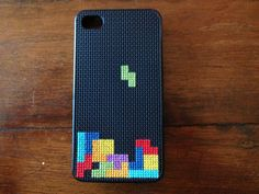 Tetris iPhone 4 crossstitch case by marsstitches on Etsy, $35.00