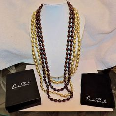 "2245~NIB ERWIN PEARL Set Brown Gold HAND KNOTTED Glass Bead Necklaces 56"" #ErwinPearl"