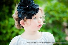Black Peony with Black Headband Perfect for Infant by iguania03, $5.99