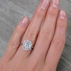 Asscher Cut vintage moissanite halo ring + conflict-free diamonds in choice of rose, white, or yellow gold Engagement Ring Buying Guide, Perfect Engagement Ring, Halo Engagement Rings, Vintage Engagement Rings, Halo Rings, Vintage Rings, Asscher Cut Diamond, Halo Diamond, Diamond Cuts
