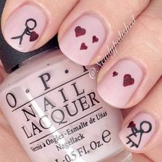27 so-pretty nail art designs for valentine's day Heart Nail Designs, Valentine's Day Nail Designs, Pretty Nail Designs, Nails Design, Pink Design, Love Nails, Fun Nails, Pretty Nails, Nail Art Saint-valentin
