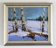 "Daily Paintworks - ""WINTER ORIGINAL OIL PAINTING IMPRESSIONISM FRAMED GALLERY QUALITY"" - Original Fine Art for Sale - © V Yeremyan"