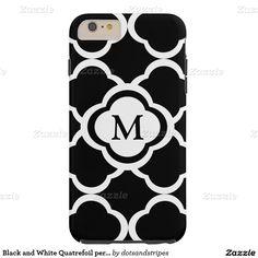 Black and White Quatrefoil personalize Monogram Tough iPhone 6 Plus Case