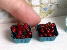 Dollhouse Miniature Berries in a Berry Basket by miniThaiss