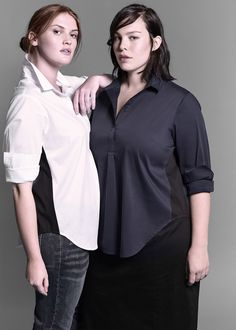 Shipping January Light cotton feel in a structured shirt with invisible stretch Expertly designed with features that make this the most comfortable collar Diy Fashion, Fashion Outfits, Plus Size Inspiration, Universal Standard, Fashion Project, Some Girls, T Shirts For Women, Clothes For Women, Plus Size Fashion
