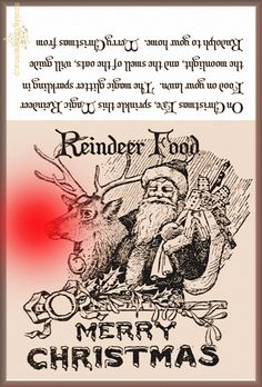 Christmas Spirit All Year Long: Reindeer Food Package Label for you (you can use colored sugar instead of glitter...)