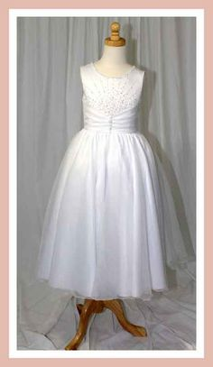 Christie Helene Holy Communion Dress - Angel Collection - UF1191 - Satin Ballerina Length Crystal Bodice Pleated Waistband