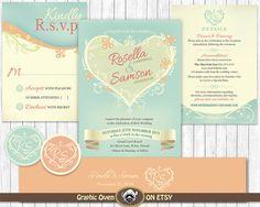 Wedding Invitation Bundle  Floral Shabby Chic Rustic  by ShopGO