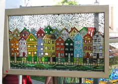 Gorgeous. I love this. Now to find glass mosaic tiles. #windowsrepurposed #mosaic
