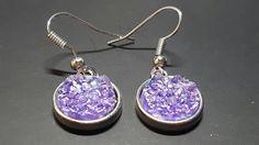 Druzy Earrings, Dangly Earrings, Purple Druzy, Glitter Earrings, Resin Earrings, Druzy Jewellery, Birthday Gift, Bridesmaid Earrings,Wedding